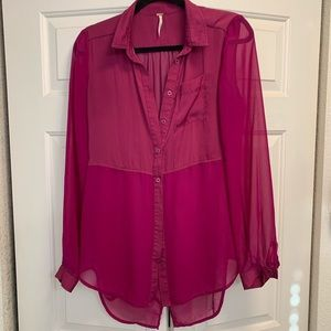 Free People half sheer button up blouse